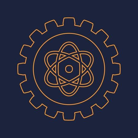 Pictograph of atom in the center of gear. Brochure or report design template. Vektoros illusztráció