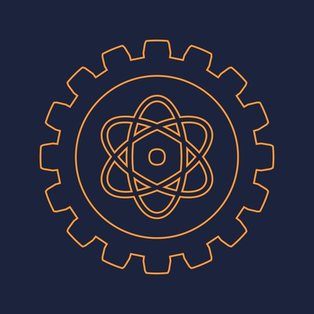 Pictograph of atom in the center of gear. Brochure or report design template.