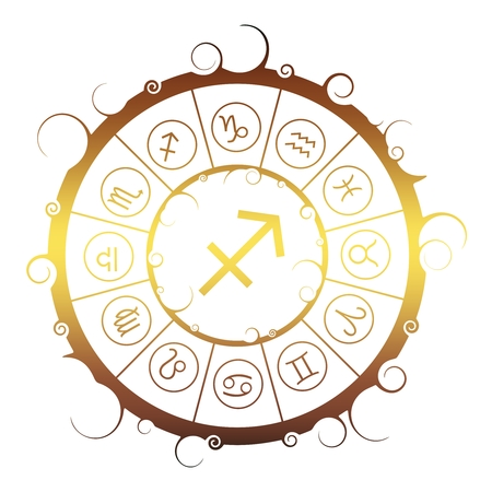 Astrological symbols in the circle. Golden metallic gradient. Archer sign