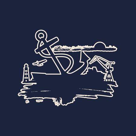 Cargo port relative icons on grunge brush stroke.. Sketch style illustration.