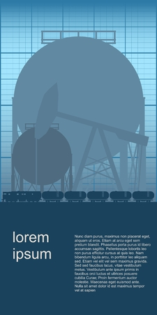 Design of natural gas and oil mining. Industry theme leaflet or brochure template with space for text