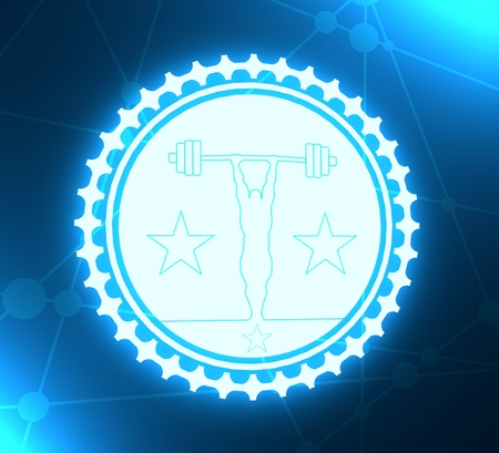 bodybuilder and barbell silhouettes. Icon of the posing athlete. Sporty style stamp with outline silhouette. 3D rendering. Neon bulb illumination