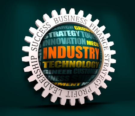 Industry word build in relative tags cloud concept. 3D rendering