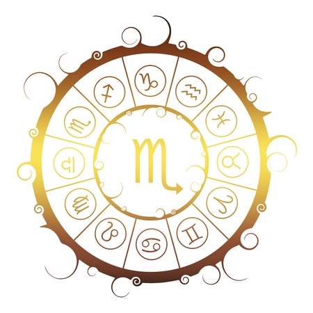Astrological symbols in the circle. Golden metallic gradient. Scorpion sign Ilustração