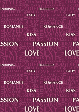 Woman and love relative words. Keywords cloud. Seamless backdrop