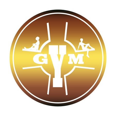 Sporty woman silhouette. Gym text. Emblem for sport club. Stamp in the shape of a circle