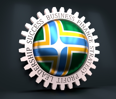 Cog wheel with Portland flag. Precision machinery relative backdrop. 3D rendering 写真素材