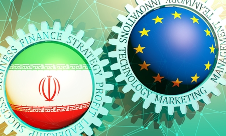 Business relative words on the mechanism of gears. Communication concept in industrial design. Connected lines with dots background. European Union and Iran business cooperation Reklamní fotografie
