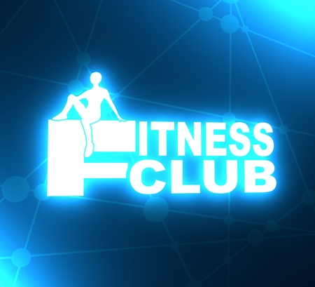 Sporty woman silhouette. Fitness club text. Emblem for sport club. 3D rendering. Neon bulb illumination
