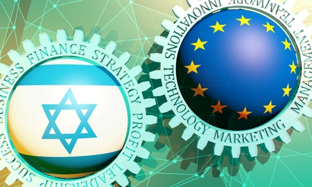Business relative words on the mechanism of gears. Communication concept in industrial design. Connected lines with dots background. European Union and Israel business cooperation