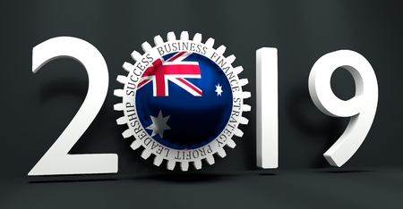 Cog wheel with Australia flag. Precision machinery relative backdrop. 2019 year number. 3D rendering