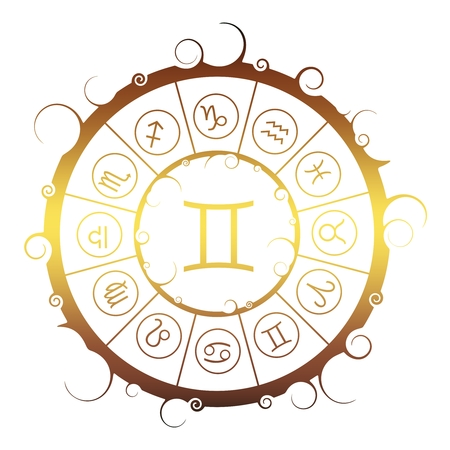 Astrological symbols in the circle. Golden metallic gradient. Twins sign