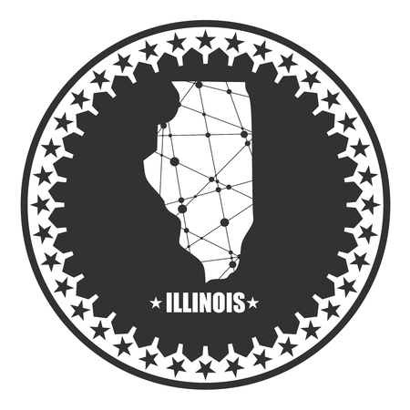 Image relative to USA travel. Illinois state map textured by lines and dots pattern. Stamp in the shape of a circle
