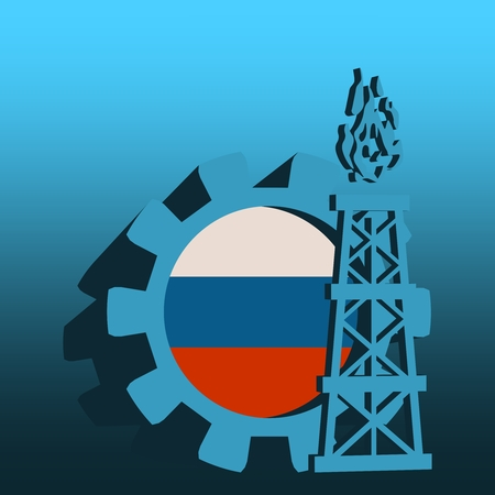 Gear with gas rig simple icon, textured by Russia flag. Heavy and mining industry concept. 3D vector icons