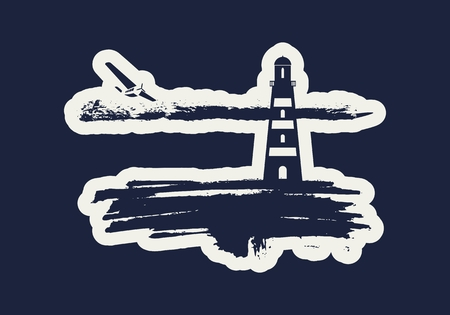 Lighthouse on brush stroke seashore. Clouds line with retro airplane