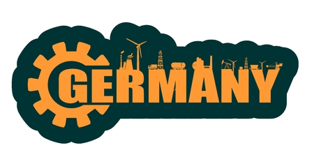Energy and Power icons. Sustainable energy generation and heavy industry. Vector illustration. Germany word decorated by gear