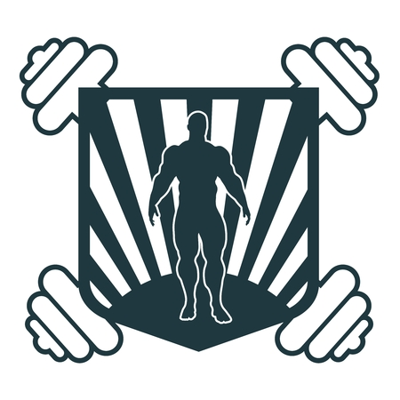 Muscular man posing. Bodybuilding coat of arms. Sporty style stamp