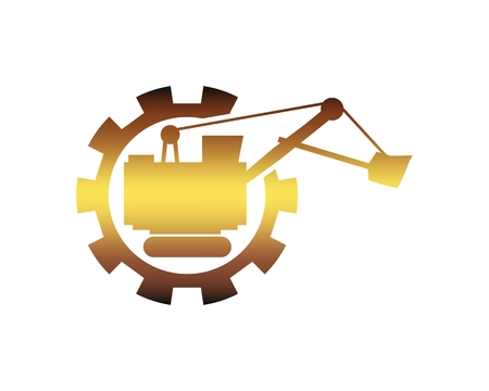 Flat big excavator in gear. Emblem for construction or mining equipment company