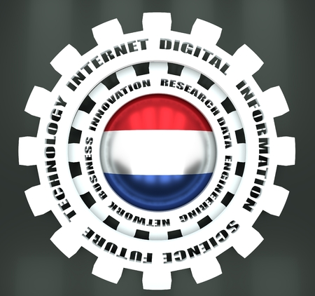 Technology relative words on the mechanism of gears. Concept in industrial design. Flag of Netherlands. 3D rendering