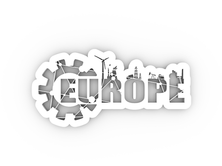 Energy and Power icons. Sustainable energy generation and heavy industry. Europe word decorated by gear. 3D rendering.