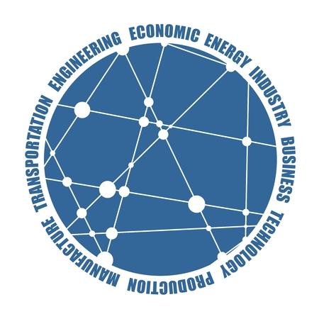 Modello di progettazione di icone di tecnologia, industria e business, forma rotonda. Molecola e modello di comunicazione. Linee collegate con punti.