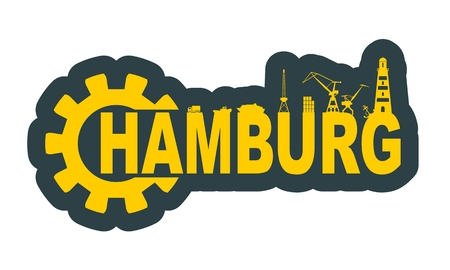 Gear with sea shipping and travel relative silhouettes.. Calligraphy inscription. Hamburg city name text Illustration