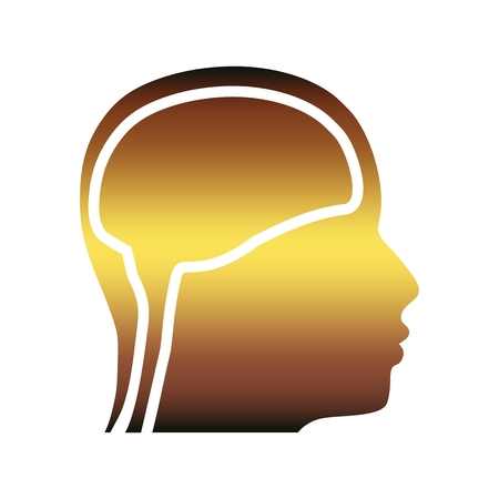 Silhouette of a man head. Mental health relative brochure, report design template. Scientific medical designs. Illustration