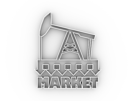 Oil pump with arrows. Market under pressure. Text under simple oil pump icon. Global business situation. 3D rendering.