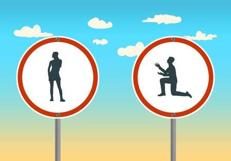 Silhouette of man in prayer pose. Man asking woman to marry him. Road signs with human icons Stock Photo