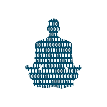 Businessman sit in meditation pose. Cutout silhouette. Binary code texture