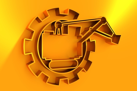Flat big excavator in gear. Emblem for construction or mining equipment company 3D rendering.