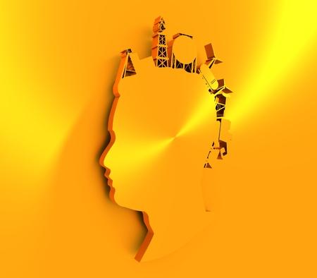 Vue de profil d'avatar homme. Silhouette de visage avec des icônes industrielles comme cheveux. Coiffure mohawk. rendu 3D. Banque d'images