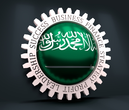 Cog wheel with Saudi Arabia flag. Precision machinery relative backdrop. 3D rendering Imagens