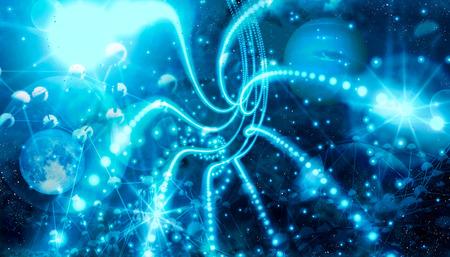 Glitter Vintage Lichter Hintergrund. Neon-Glanz-Disco-Partikel. Elemente dieses von der NASA bereitgestellten Bildes. Tiefer Raum voller Sterne und Planeten. 3D-Rendering. Standard-Bild