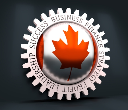 Cog wheel with Canada flag. Precision machinery relative backdrop. 3D rendering