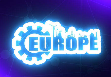 Energy and Power icons. Sustainable energy generation and heavy industry. Europe word decorated by gear. 3D rendering. Neon bulb illumination Stock Photo