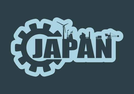 Energy and Power icons. Sustainable energy generation and heavy industry. Japan word decorated by gear Vettoriali