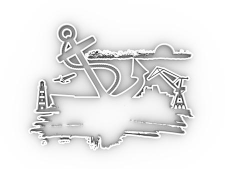 Cargo port relative icons on grunge brush stroke.. Sketch style illustration. 3D rendering. 版權商用圖片