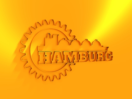 Hamburg city name in gear and sea ship silhouette. 3D rendering
