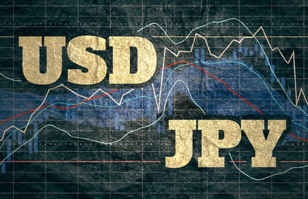 Forex candlestick pattern. Trading chart concept. Financial market chart. Currency pair. Acronym JPY - Japanese yen. Acronym USD - United States Dollar.