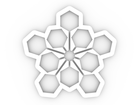 Hexagon sign template. Anstract geometry shape. 3D rendering 版權商用圖片
