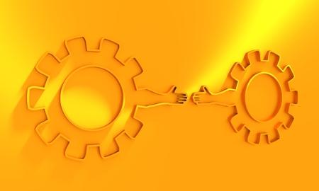 Bannière Web, modèle de mise en page d'en-tête. Métaphore des relations politiques et économiques. Roues dentées avec bras humains. rendu 3D