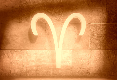 The ram astrology sign. Empty concrete interior. 3D rendering