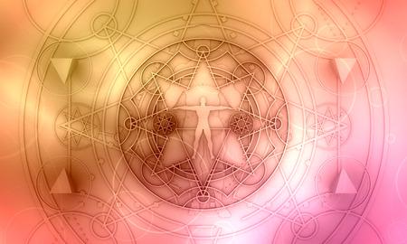 Mystery, Hexerei, Okkultismus und Alchemie Tattoo Zeichen. Symbol der dünnen Linien der mystischen Weinlesegotikgeometrie mit der Silhouette eines muskulösen Mannes. 3D-Rendering Standard-Bild
