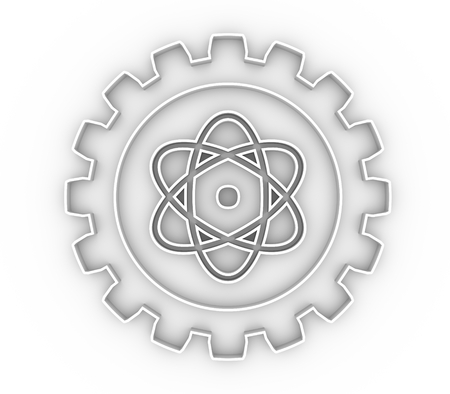 Pictograph of atom in the center of gear. Brochure or report design template. 3D rendering