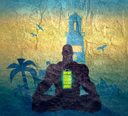 Muscular man sit in meditation pose. Seaside view poster. Palm and safeguard tower on the beach. Yacht and lighthouse silhouettes. Relaxation after work concept. High full level energy battery