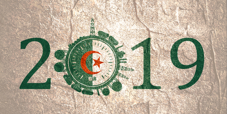 Circle with energy relative silhouettes. Design set of natural gas industry. Objects located around the manometer circle. 2019 year number. Flag of the Algeria