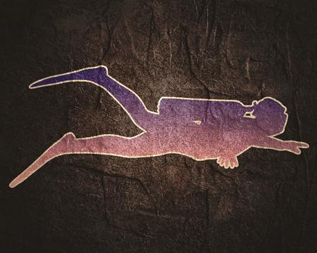 Silhouette of diver. Outline web icon of diver. The concept of sport diving. Foto de archivo