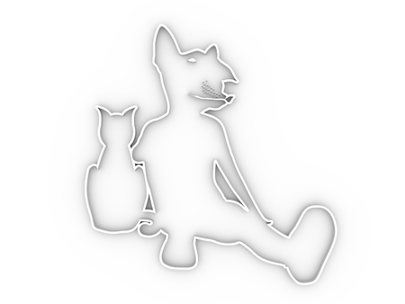 The woman sitting with cat. Woman with head of Bull terrier or big mouse. Outline silhouettes. 3D rendering.
