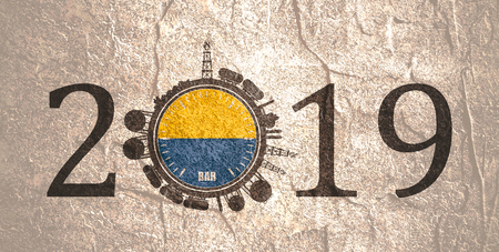 Circle with energy relative silhouettes. Design set of natural gas industry. Objects located around the manometer circle. 2019 year number. Flag of the Ukraine Stock Photo